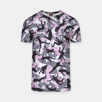 Miniatur Volleyball Player Camo Camouflage Pattern Pink T-shirt, Live Heroes