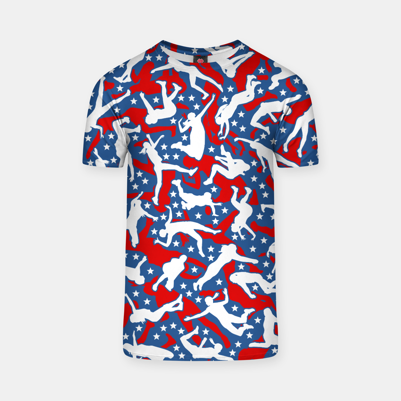 Image of Volleyball Player USA American Flag Camo Camouflage Pattern T-shirt - Live Heroes