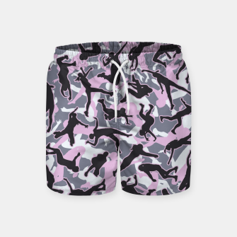 Miniatur Volleyball Player Camo Camouflage Pattern Pink Swim Shorts, Live Heroes