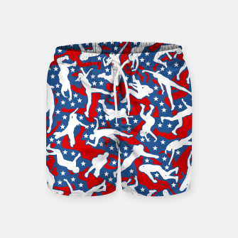 Miniatur Volleyball Player USA American Flag Camo Camouflage Pattern Swim Shorts, Live Heroes