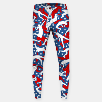 Miniatur Volleyball Player USA American Flag Camo Camouflage Pattern Sweatpants, Live Heroes