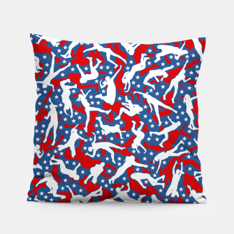 Miniatur Volleyball Player USA American Flag Camo Camouflage Pattern Pillow, Live Heroes