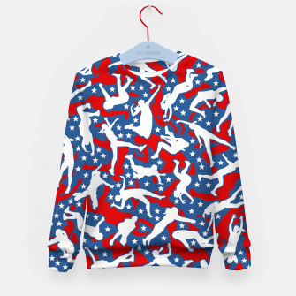Miniatur Volleyball Player USA American Flag Camo Camouflage Pattern Kid's sweater, Live Heroes