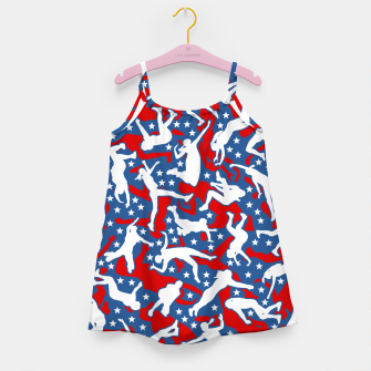 Miniatur Volleyball Player USA American Flag Camo Camouflage Pattern Girl's dress, Live Heroes