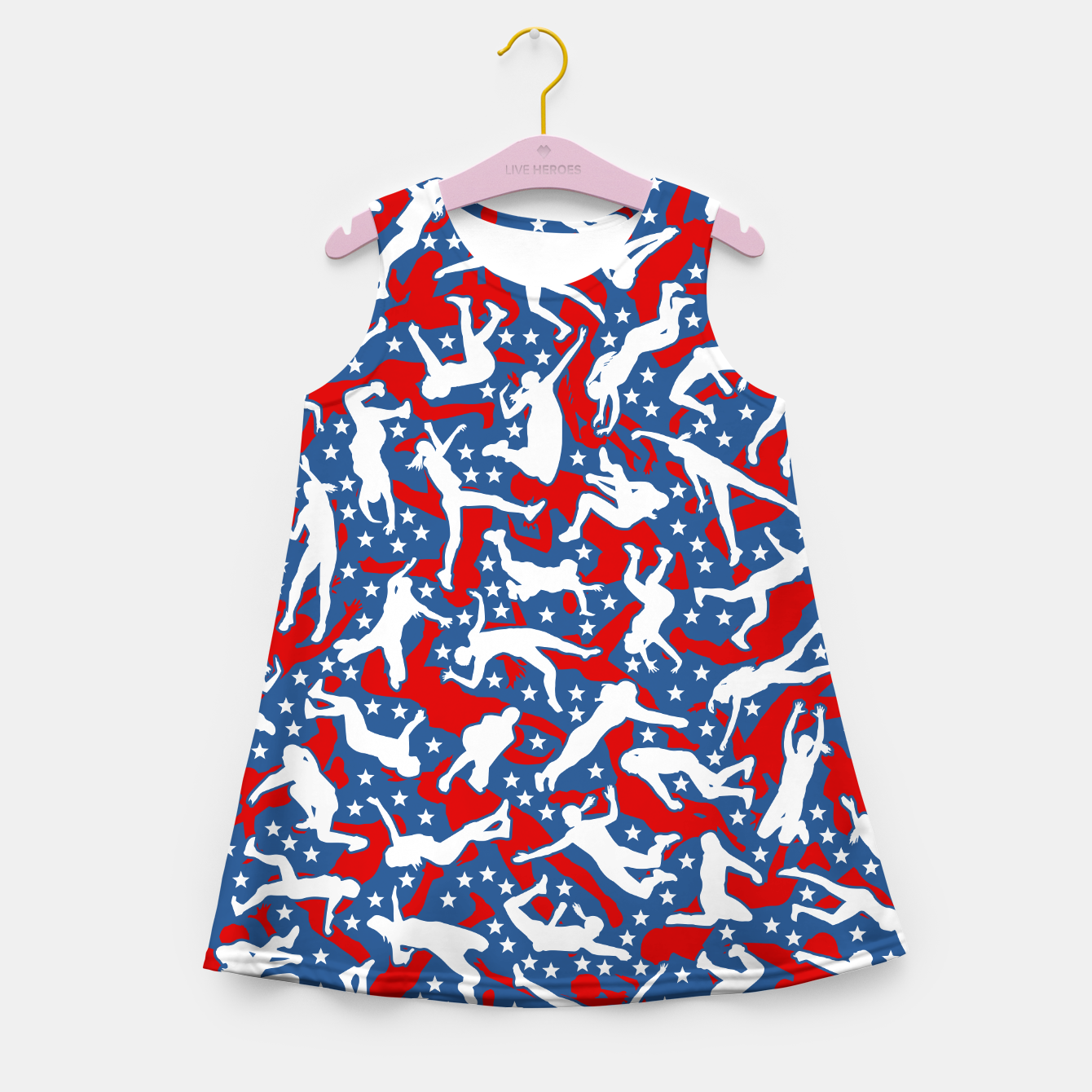 Image of Volleyball Player USA American Flag Camo Camouflage Pattern Girl's summer dress - Live Heroes