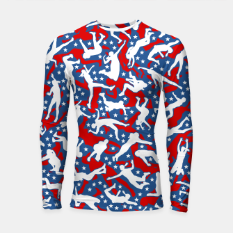Miniatur Volleyball Player USA American Flag Camo Camouflage Pattern Longsleeve rashguard , Live Heroes