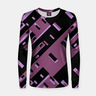 Miniatur Purple Dark Geometric Shapes Pattern Women sweater, Live Heroes