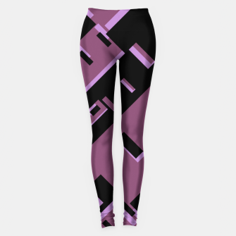 Miniatur Purple Dark Geometric Shapes Pattern Leggings, Live Heroes