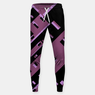 Miniatur Purple Dark Geometric Shapes Pattern Sweatpants, Live Heroes
