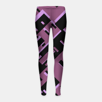 Miniatur Purple Dark Geometric Shapes Pattern Girl's leggings, Live Heroes