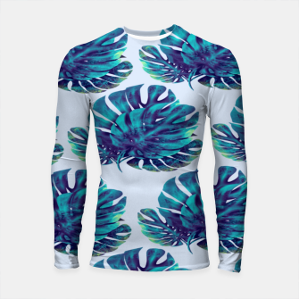 Thumbnail image of Blue green Monstera  Longsleeve rashguard, Live Heroes