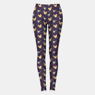 Thumbnail image of Night flyers, cartoon butterflies pattern, wildlife nature print Leggings, Live Heroes