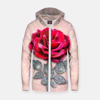 Thumbnail image of GLITTERY RED ROSE Sudadera con capucha y cremallera , Live Heroes