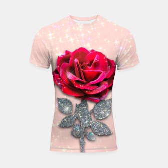 Thumbnail image of GLITTERY RED ROSE Shortsleeve rashguard, Live Heroes