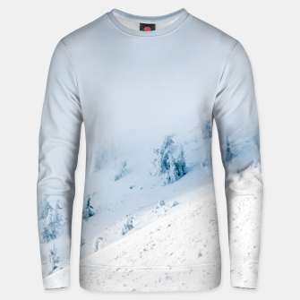 Frozen trees sun and clouds in the mountains Unisex sweater miniature
