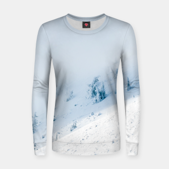 Frozen trees sun and clouds in the mountains Women sweater miniature