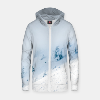 Frozen trees sun and clouds in the mountains Zip up hoodie miniature