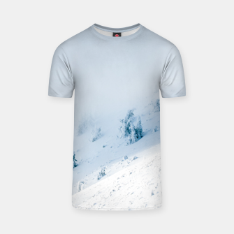 Frozen trees sun and clouds in the mountains T-shirt miniature