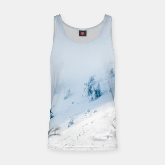 Frozen trees sun and clouds in the mountains Tank Top miniature