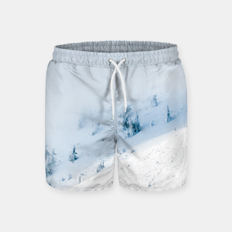 Frozen trees sun and clouds in the mountains Swim Shorts miniature
