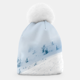 Frozen trees sun and clouds in the mountains Beanie miniature