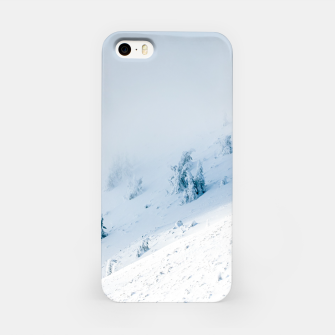Frozen trees sun and clouds in the mountains iPhone Case miniature