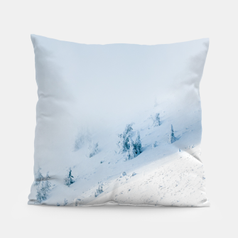 Frozen trees sun and clouds in the mountains Pillow miniature