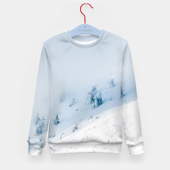 Frozen trees sun and clouds in the mountains Kid's sweater miniature
