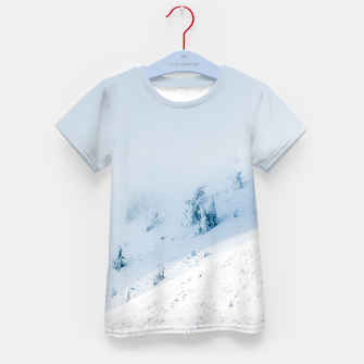 Frozen trees sun and clouds in the mountains Kid's t-shirt miniature