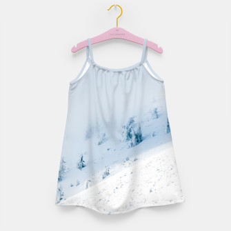 Frozen trees sun and clouds in the mountains Girl's dress miniature