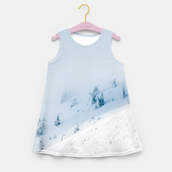 Frozen trees sun and clouds in the mountains Girl's summer dress miniature