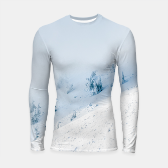 Thumbnail image of Frozen trees sun and clouds in the mountains Longsleeve rashguard , Live Heroes