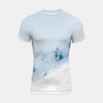 Frozen trees sun and clouds in the mountains Shortsleeve rashguard miniature