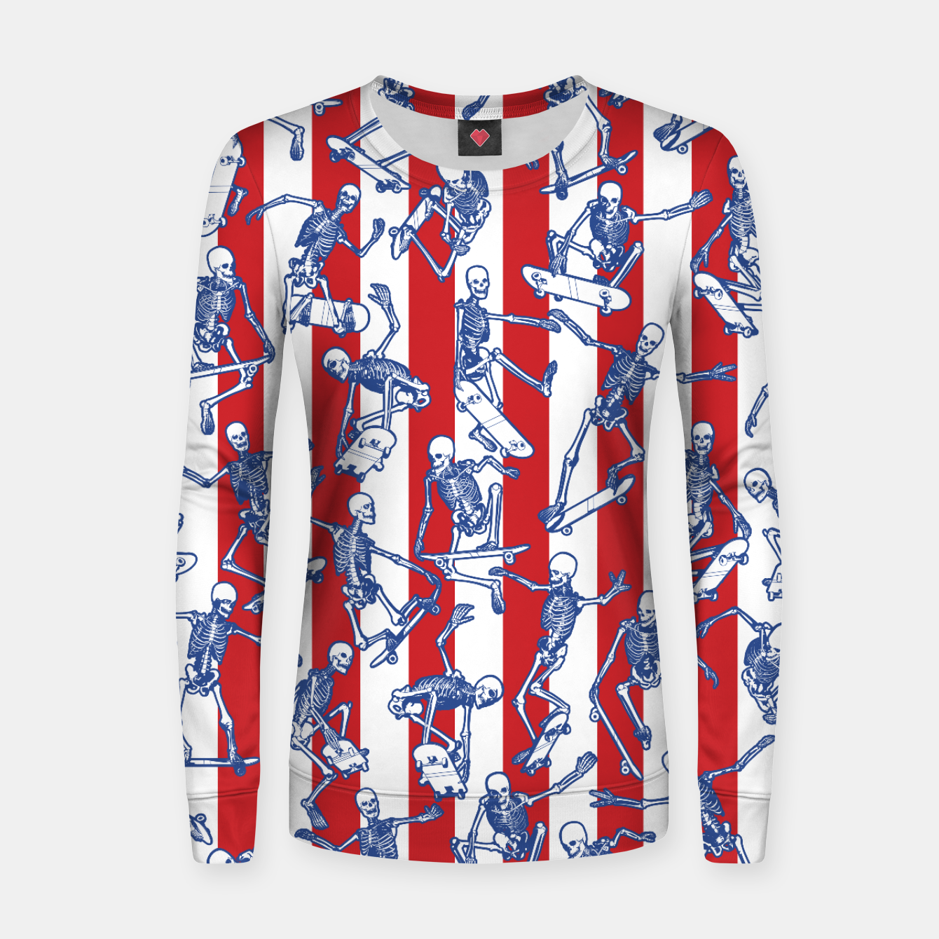 Image of Skater USA American Flag Skateboarding Skeletons Pattern Women sweater - Live Heroes