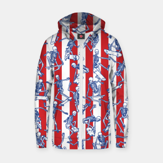 Skater USA American Flag Skateboarding Skeletons Pattern Zip up hoodie thumbnail image