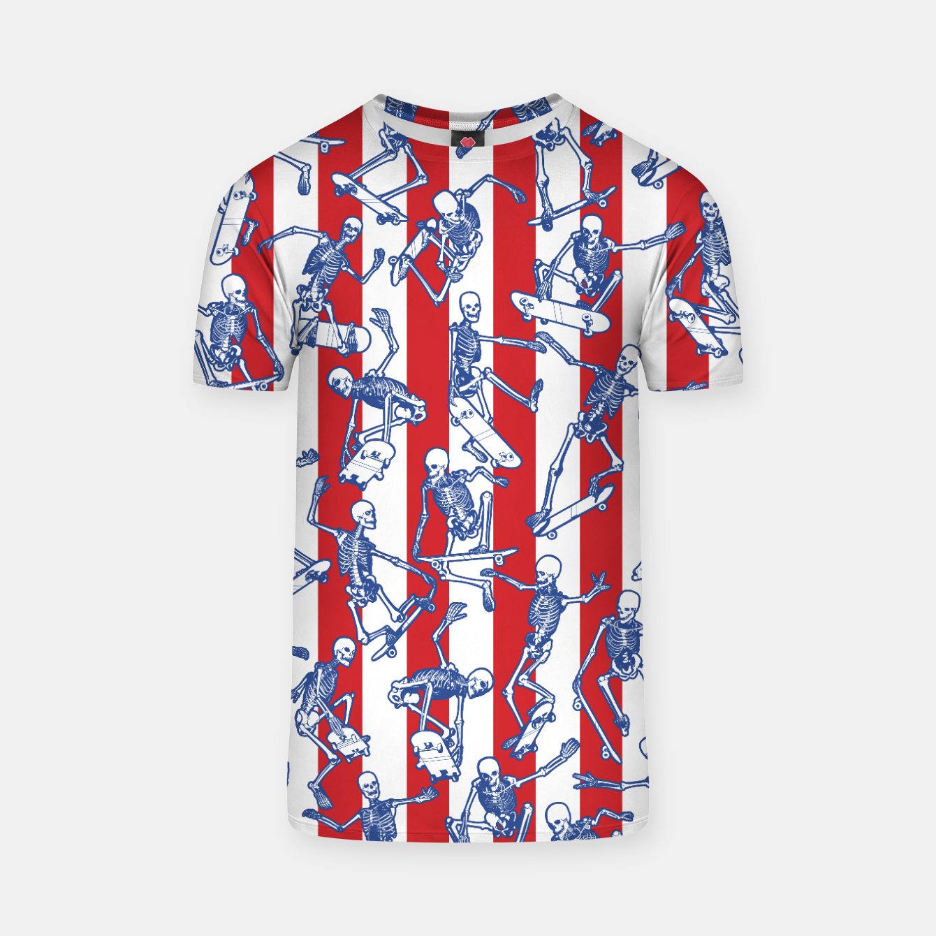 Image of Skater USA American Flag Skateboarding Skeletons Pattern T-shirt - Live Heroes