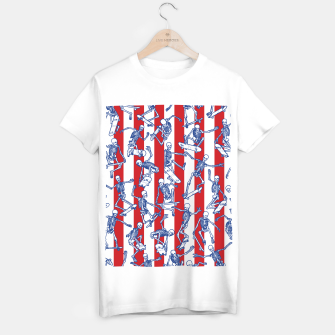 Skater USA American Flag Skateboarding Skeletons Pattern T-shirt regular thumbnail image