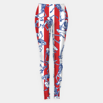 Skater USA American Flag Skateboarding Skeletons Pattern Leggings thumbnail image