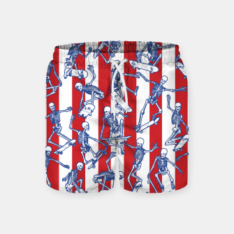 Skater USA American Flag Skateboarding Skeletons Pattern Swim Shorts thumbnail image