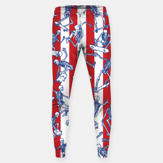 Thumbnail image of Skater USA American Flag Skateboarding Skeletons Pattern Sweatpants, Live Heroes