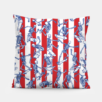 Skater USA American Flag Skateboarding Skeletons Pattern Pillow thumbnail image