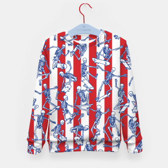 Thumbnail image of Skater USA American Flag Skateboarding Skeletons Pattern Kid's sweater, Live Heroes