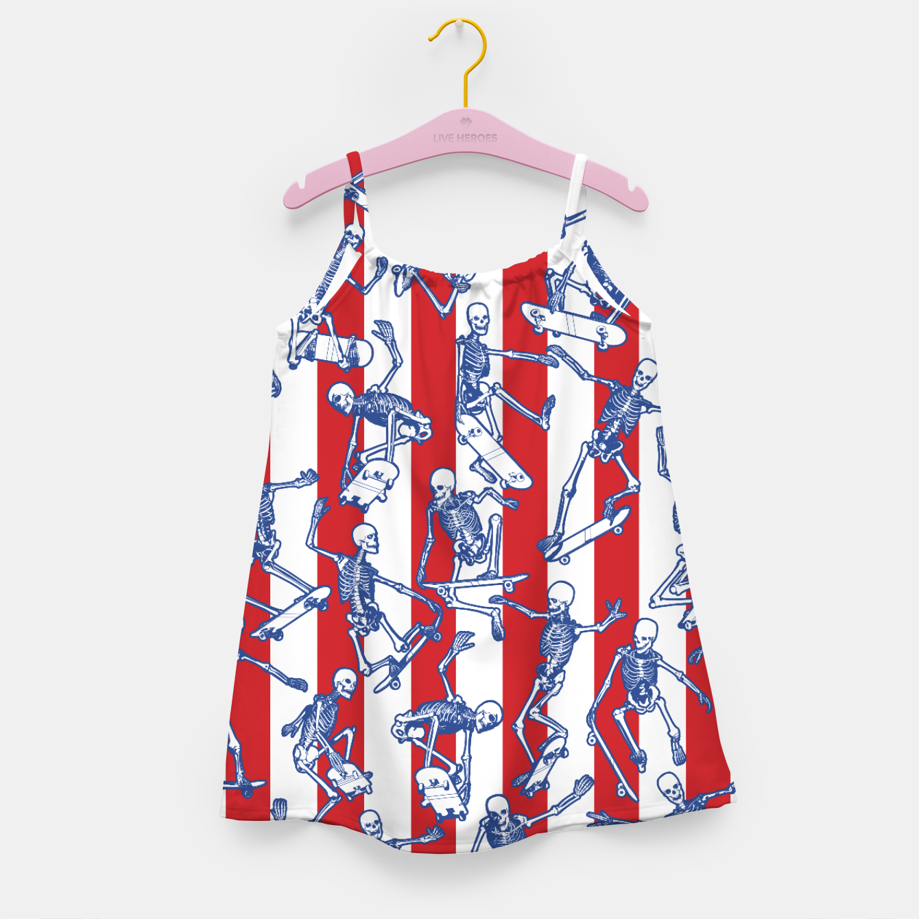 Image of Skater USA American Flag Skateboarding Skeletons Pattern Girl's dress - Live Heroes