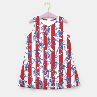 Thumbnail image of Skater USA American Flag Skateboarding Skeletons Pattern Girl's summer dress, Live Heroes