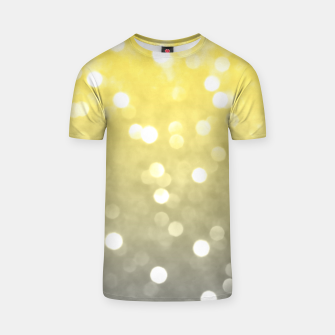 Thumbnail image of Ultimate grey illuminating yellow sparkly bokeh T-shirt, Live Heroes