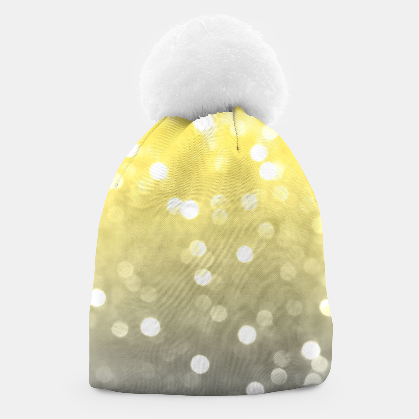 Image of Ultimate grey illuminating yellow sparkly bokeh Beanie - Live Heroes