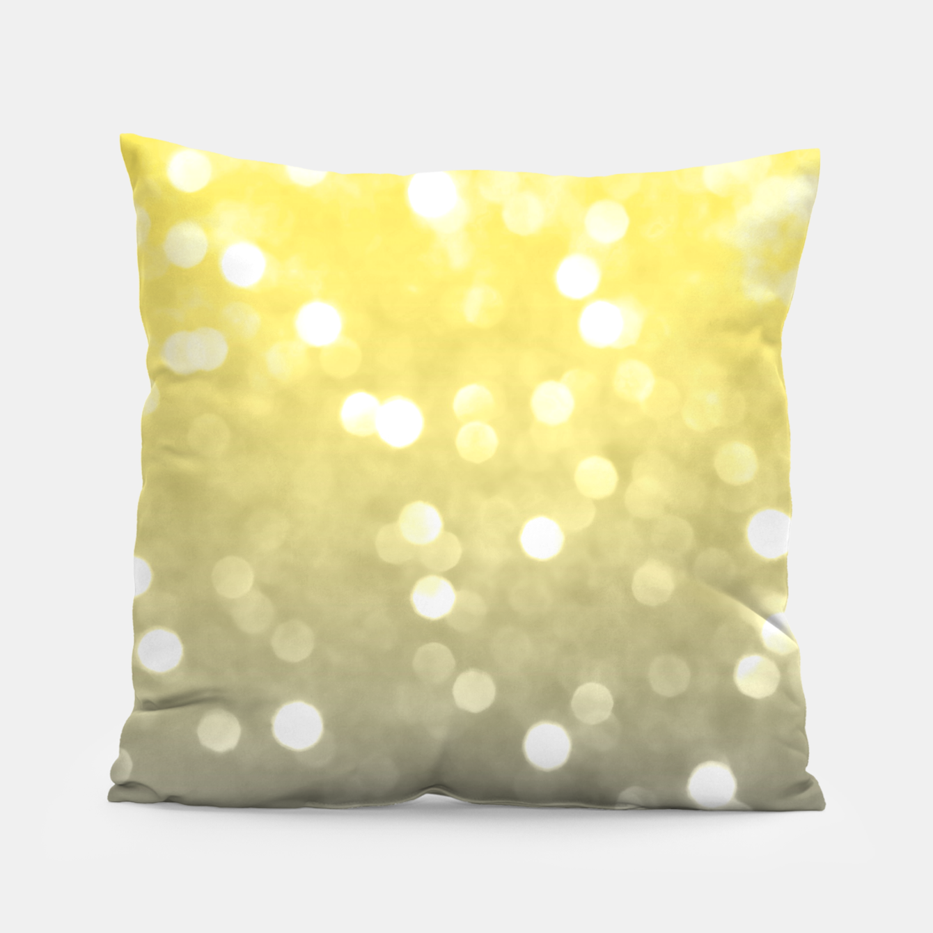 Image of Ultimate grey illuminating yellow sparkly bokeh Pillow - Live Heroes