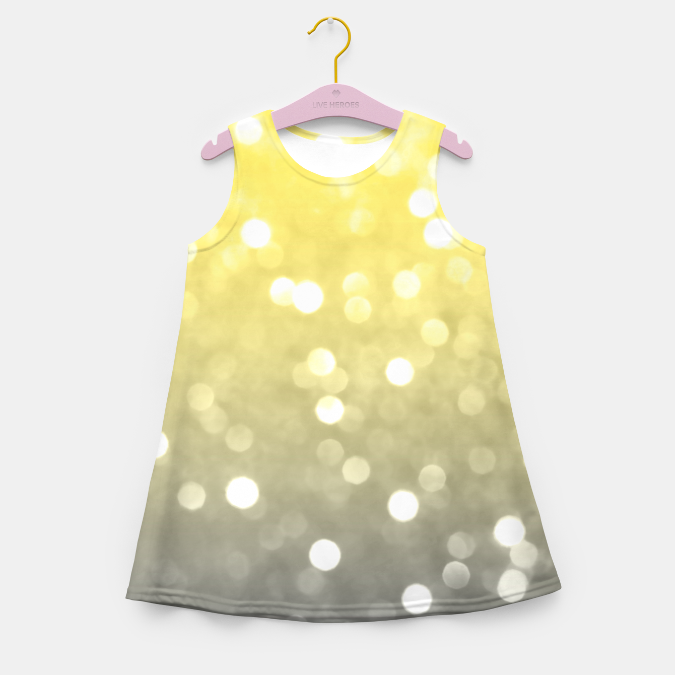 Image of Ultimate grey illuminating yellow sparkly bokeh Girl's summer dress - Live Heroes