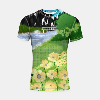 Thumbnail image of Buttercup Mountain- Forest Shortsleeve rashguard, Live Heroes