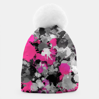 Thumbnail image of Pink and Grey Paint Splatter Pom Pom Winter Beanie Hat, Live Heroes